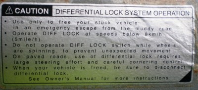 Sticker for Rear Differential Lock Button