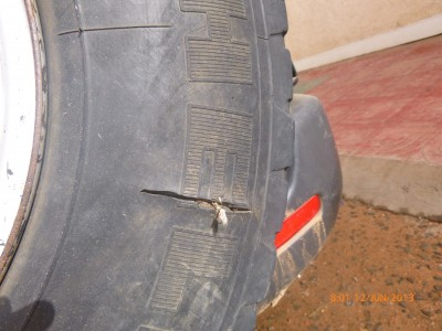 Spare Tyre with Side Wall Damaged