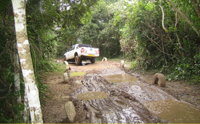 driving through shallow mud - low range